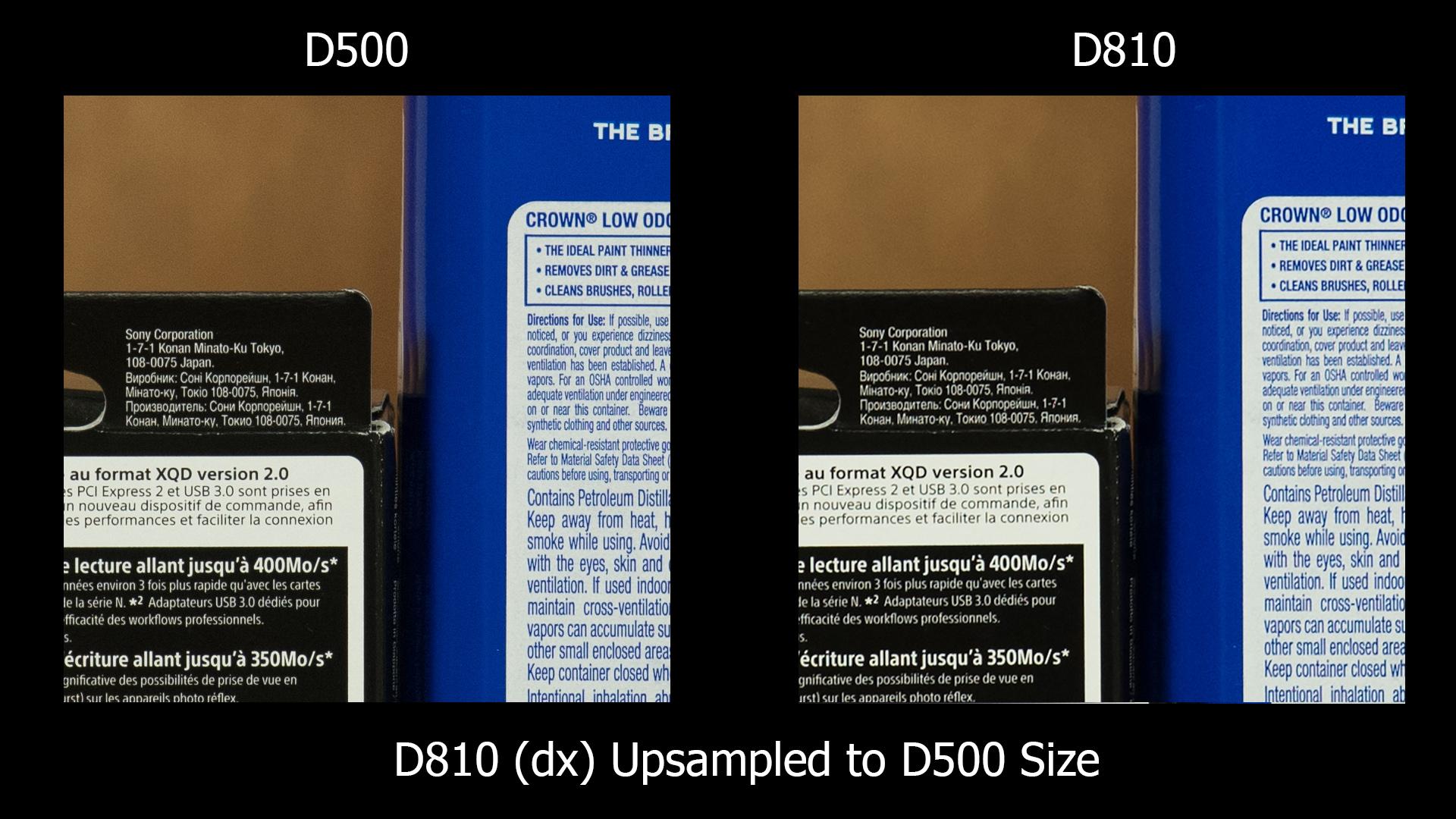 D500 vs D810 - D810 DX upsize