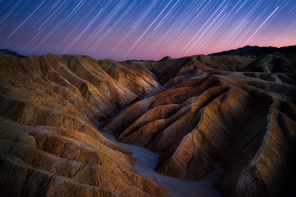 Star trails over Golden Canyon